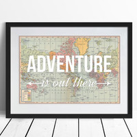 'Adventure Is Out There' World Map Poster