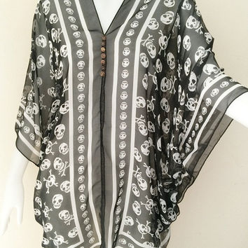 Beach Cover up Hippie Boho Summer Tunic Caftan skull rock punk Gypsy Top dress free size
