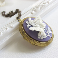 Large Butterfly Cameo Locket. Spring Summer Butterfly and Flower Brass locket Antiqued Chain Long Necklace