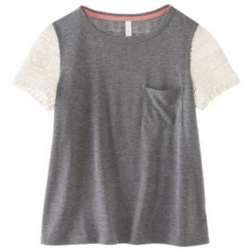 Junior's Lace Sleeve Tee