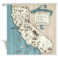 Vintage California Map Shower Curtain - Illustrated map - Home Decor - Bathroom - travel, blue, cream, golden state,