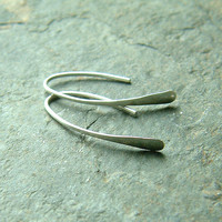 Sterling Silver Earrings Modern Open Hoops Hammered Wire Hoop Earrings Paddle Earrings Eco Friendly Earrings Minimalist Jewelry