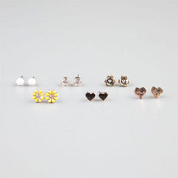 Full Tilt 6 Pairs Daisy/Heart/Love Earrings Gold One Size For Women 24356462101