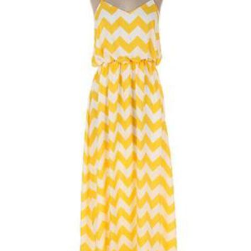 LaFleur Beach Chevron Maxi Dress--Yellow