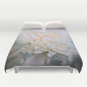 Abstract Peony in Blue Duvet Cover by Jai Johnson
