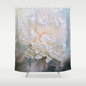 Abstract Peony in Blue Shower Curtain by Jai Johnson
