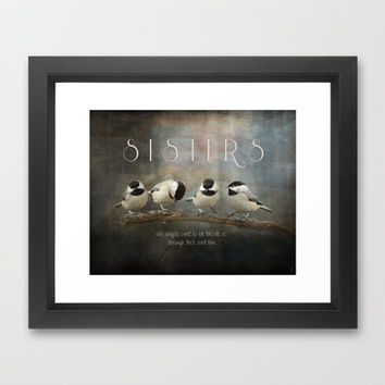 Sisters - Chickadees - Birds Framed Art Print by Jai Johnson