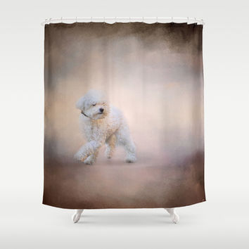On the Go - Bichon Frise Shower Curtain by Jai Johnson
