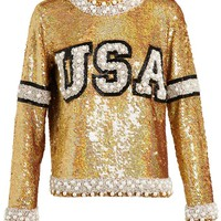 ASHISH | Jewelled Sequinned Varsity Letter Top | Browns fashion & designer clothes & clothing