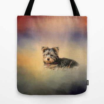 Loving the Leaves - Yorkshire Terrier Puppy Tote Bag by Jai Johnson