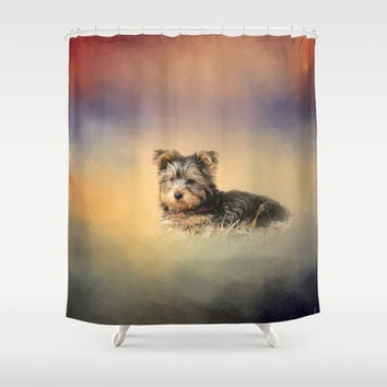 Loving the Leaves - Yorkshire Terrier Puppy Shower Curtain by Jai Johnson