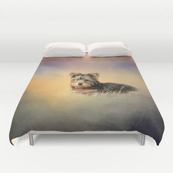Loving the Leaves - Yorkshire Terrier Puppy Duvet Cover by Jai Johnson
