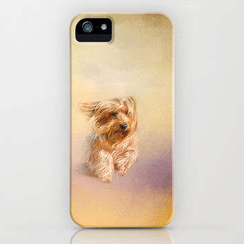 Into the Wind - Yorkshire Terrier iPhone & iPod Case by Jai Johnson