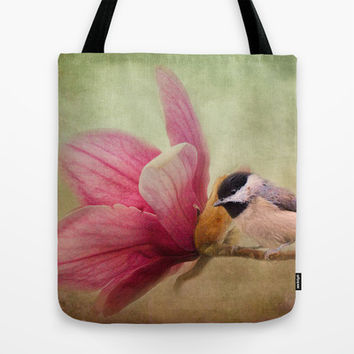 Welcome Spring - Chickadee - Bird and Flower Tote Bag by Jai Johnson