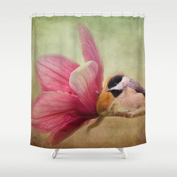 Welcome Spring - Chickadee - Bird and Flower Shower Curtain by Jai Johnson