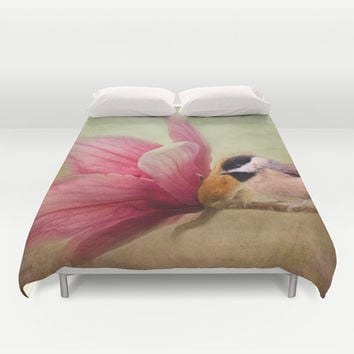 Welcome Spring - Chickadee - Bird and Flower Duvet Cover by Jai Johnson