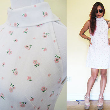 Vintage white daisy floral flower turtle neck sleeveless print grunge club kid lolita day dress