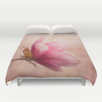 Pink Magnolia I - Flower Art Duvet Cover by Jai Johnson