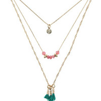 TRIPLE ROW SEMI PRECIOUS STONE NECKLACE