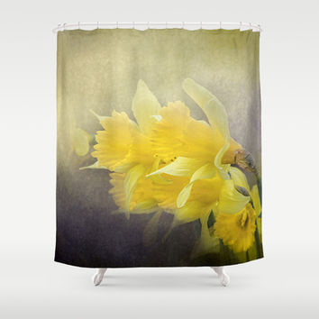 Out of the Darkness - Daffodil Flowers Shower Curtain by Jai Johnson