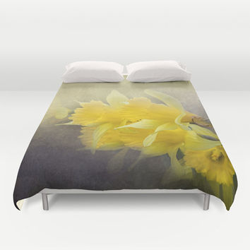 Out of the Darkness - Daffodil Flowers Duvet Cover by Jai Johnson