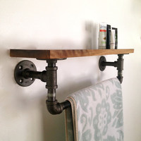Amber Street Towel Rack - Black Walnut Towel Rack - Reclaimed Wood Towel Rack
