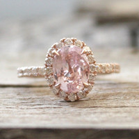 2.60 Cts. Pastel Peach Champagne Sapphire Diamond Halo Ring in 14K Rose Gold