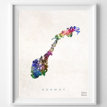 Norway Map, Watercolor, Home Town, Poster, art, Gift, Country, Living Room, Wall Decor, Nursery, Painting, Bedroom, world map [NO 452]