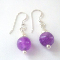 Purple Malaysia Jade Earrings in Sterling Silver