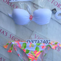 New Victoria's Secret Very Sexy Bandeau Bikini Set White Shimmer L Floral