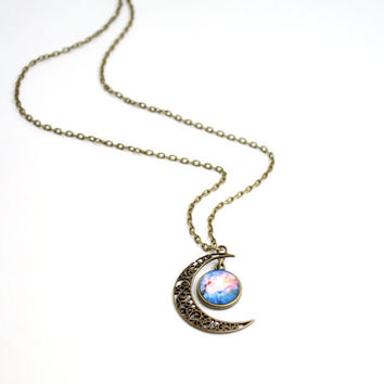 Moon And Galaxy Necklace, Lunar Necklace, Galaxy Jewelry, Planetarium Necklace, Nebula Necklace