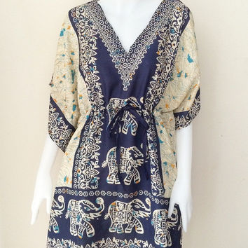 Boho Hippie Tunic Caftan Elephant print Batwing loose Top dress