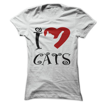 I Love - Heart Cats T Shirt - many colors to choose from