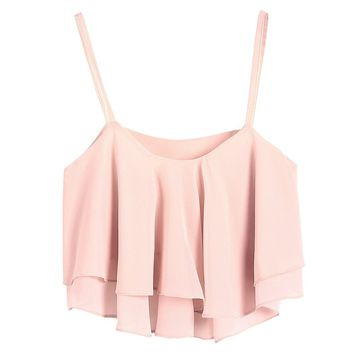 LookbookStore Summer Fashion Ruffled layers Sheer Crop Camisole Women's Top