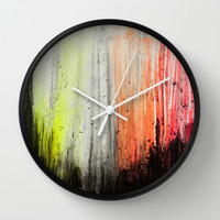 Trees in Neon Wall Clock by RisaCreativeStudio