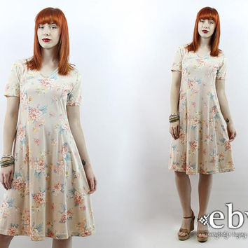 Vintage 90s Beige Floral Summer Dress S M L Beige Floral Dress 90s Grunge Dress 90s Floral Dress Summer Dress Boho Dress Babydoll Dress