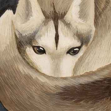 Husky Dog Art Print - Curled Up Dog, Husky Painting, Cute Husky Art Print, Mixed Media Colored Pencil Art, Dog Painting, Animal Art Print