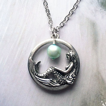 Mermaid Necklace Aquamarine Necklace Mermaid Jewelry March Birthstone Pearl Necklace Beach Jewelry Friendship Gift