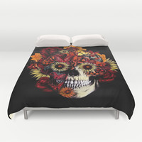 Full circle...Floral ohm skull Duvet Cover by Kristy Patterson Design