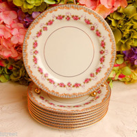 8 Beautiful Vintage Noritake Porcelain Salad Plates ~ Rose Swags ~ Scrolls