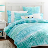 Surfers Point Tie Dye Duvet Cover + Sham, Capri Pool