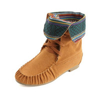 TRIBAL-LINED LACE-UP MOCCASIN BOOTS