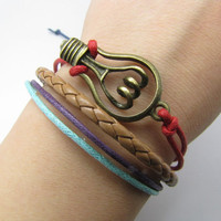 Red Ropes Steampunk Bracelet Hunger Games Bacelet by sevenvsxiao