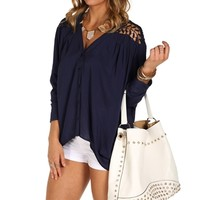 Navy Crochet Back Dolman