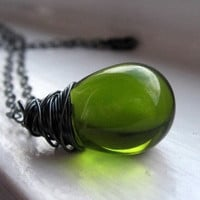 Olive Green Czech Glass Pendant Necklace by TheJewelryChateau
