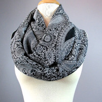 Black and White scarf, chunky scarf, winter scarf, pashmina, paisley pattern