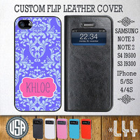 Custom Your Name or Monogram Floral Leather Flip Cover @ Samsung Galaxy S4 case S3 , Samsung Note 3 Note 2 , IPhone 5 5S , IPhone 4 4S L44
