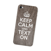 Keep Calm and Carry On Text On   Iphone 4 Wood Skin  by fieldtrip