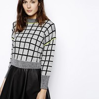 ASOS Checked Crop Jumper at asos.com