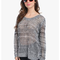 Black Holey Moley Long Sleeve Knit Top | $10 | Cheap Trendy Sweaters Chic Discount Fashion for Wome